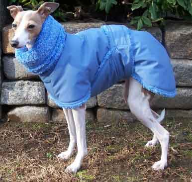 blue fleece dog coat